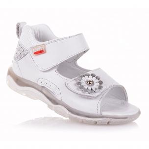 Дитяче взуття PERLINKA (Білі шкіряні босоніжки з квіткою)