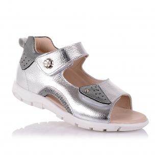 Дитяче взуття PERLINKA (Сріблясті босоніжки із закритою п'ятою для дівчат )