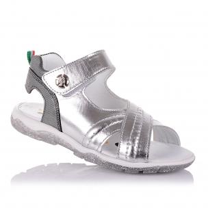 Дитяче взуття PERLINKA (Сріблясті босоніжки з відкритою п'ятою для дівчат )