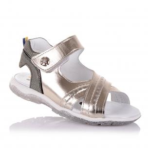 Дитяче взуття PERLINKA (Босоніжки золотистого кольору з відкритою п'ятою для дівчат )