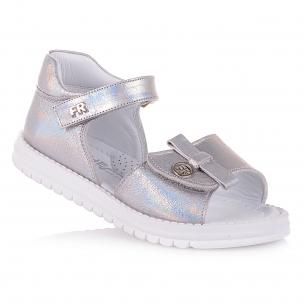 Дитяче взуття PERLINKA ( Сріблясті босоніжки на липучках для дівчаток )