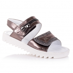 Дитяче взуття PERLINKA (Коричневі босоніжки зі стразами для дівчаток)