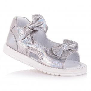 Дитяче взуття PERLINKA (Шкіряні босоніжки сріблястого кольору для дівчат)