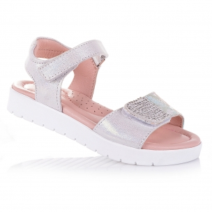 Дитяче взуття PERLINKA (Сріблясті босоніжки з нубуку для дівчаток)