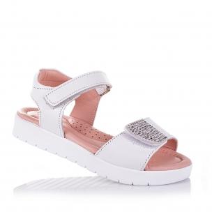 Дитяче взуття PERLINKA (Білі шкіряні босоніжки для дівчат)