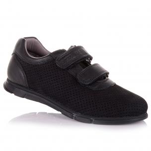 Детская обувь PERLINKA (Черные кроссовки с перфорацией для школы)