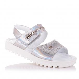 Дитяче взуття PERLINKA (Шкіряні босоніжки сріблястого кольору для дівчат )