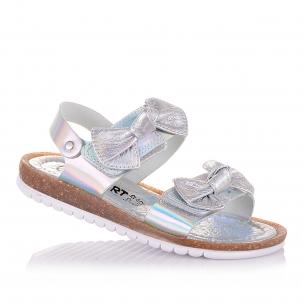 Дитяче взуття PERLINKA (Сріблясті босоніжки з бантиками)