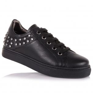 Дитяче взуття PERLINKA (Чорні мокасини на шнурівці в школу)