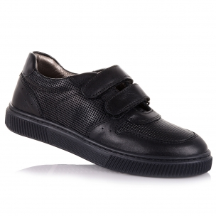 Дитяче взуття PERLINKA (Чорні шкіряні мокасини для школи)