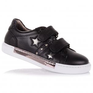 Дитяче взуття PERLINKA (Чорні шкіряні кросівки для школи)