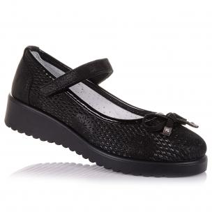 Дитяче взуття PERLINKA (Шкільні туфлі чорного кольору з перфорацією)