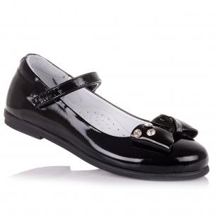Дитяче взуття PERLINKA (Шкільні лакові туфлі з ремінцем та липучкою)