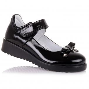 Дитяче взуття PERLINKA (Стильні лакові туфлі з бантиком для школи)