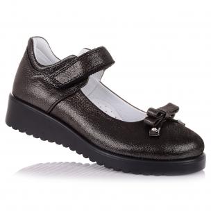 Детская обувь PERLINKA (Школьные туфли из нубука и кожи с бантиком)