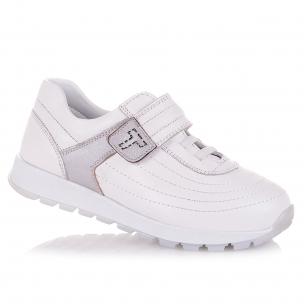 Дитяче взуття PERLINKA (Білі шкіряні кросівки на липучці)