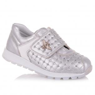 Детская обувь PERLINKA (Кроссовки серебристого цвета с камушками)
