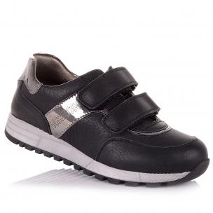 Детская обувь PERLINKA (Черные кроссовки на липучках в школу )