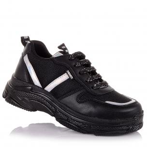 Детская обувь PERLINKA (Черные кроссовки на шнурках для школы)