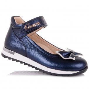 Детская обувь PERLINKA (Школьные кожаные туфли с бантиком)