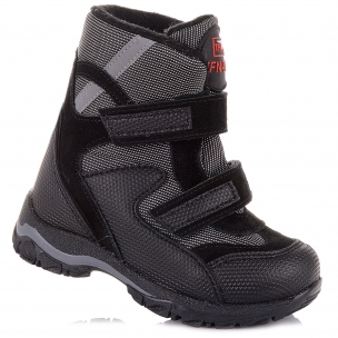Детская обувь PERLINKA (Зимние ботинки из замши и текстиля, на липучках)