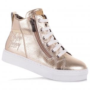Детская обувь PERLINKA (Золотистые демисезонные ботинки на шнурках)