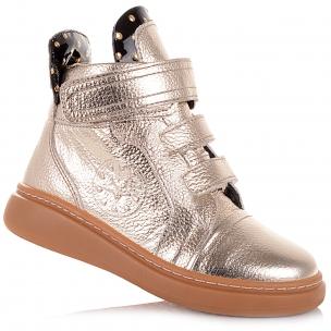 Детская обувь PERLINKA (Золотистые демисезонные ботинки на липучках)