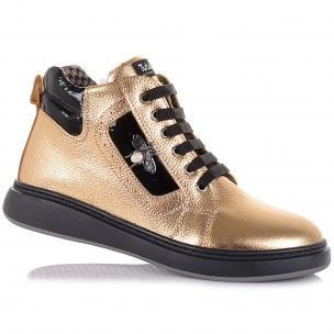 Детская обувь PERLINKA (Демисезонные ботинки из кожи золотистого цвета)