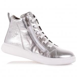 Детская обувь PERLINKA (Серебристые демисезонные ботинки на шнурках)
