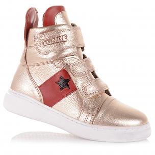 Детская обувь PERLINKA (Золотистые демисезонные ботинки с красными вставками)