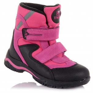 Детская обувь PERLINKA (Ярко-розовые зимние сапоги из замши и текстиля)