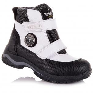 Дитяче взуття PERLINKA (Чорно-білі демісезонні черевики із шкіри та текстилю)