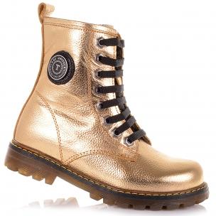 Дитяче взуття PERLINKA (Шкіряні золотисті черевики на шнуровці)
