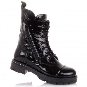 Дитяче взуття PERLINKA (Лакові демісезонні черевики на шнурках та блискавці)