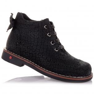 Детская обувь PERLINKA (Демисезонные ботинки из нубука, с бантом)
