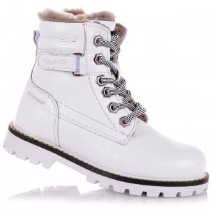 Детская обувь PERLINKA (Белоснежные зимние ботинки на шнурках)