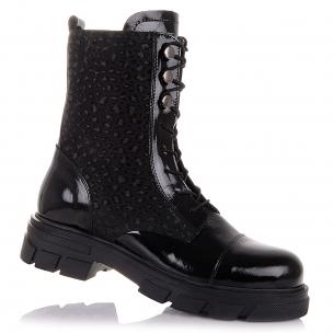 Детская обувь PERLINKA (Зимние ботинки из нубука и лакированной кожи)