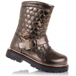 Дитяче взуття PERLINKA (Золотисті демісезонні черевики з брошкою )