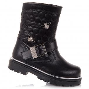 Детская обувь PERLINKA (Черные демисезонные ботинки с брошкой)