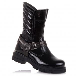 Детская обувь PERLINKA (Лаковые демисезонные сапоги на тракторной подошве)