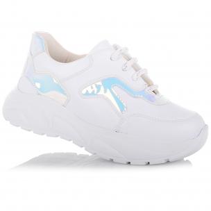 Детская обувь PERLINKA (Яркие белые кроссовки на ребристой подошве)