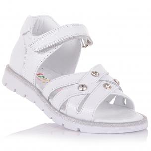 Дитяче взуття PERLINKA (Білосніжні босоніжки з ремінцем-липучкою)