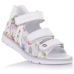Дитяче взуття PERLINKA (Шкіряні босоніжки з квітковим принтом)