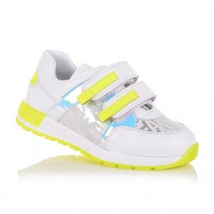 Дитяче взуття PERLINKA ( кросівки зі шкіри з яскравими жовто-салатовими вставками)