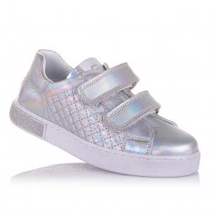 Дитяче взуття PERLINKA (сріблясті мокасини на двох липучках)