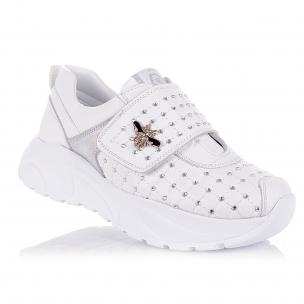 Дитяче взуття PERLINKA (білосніжні шкіряні кросівки з брошкою)