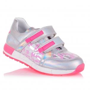Дитяче взуття PERLINKA ( сріблясті кросівки з рожевими вставками)