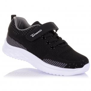 Дитяче взуття PERLINKA (Черные кроссовки на белой подошве)