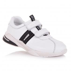 Дитяче взуття PERLINKA (Шкіряні білі кросівки з чорною вставкою)