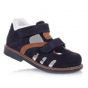 Детская обувь PERLINKA (Закрытые босоножки в темно-синем нубуке)